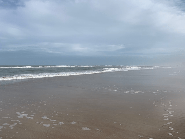 Winter low tide at New Smyrna Beach in Florida