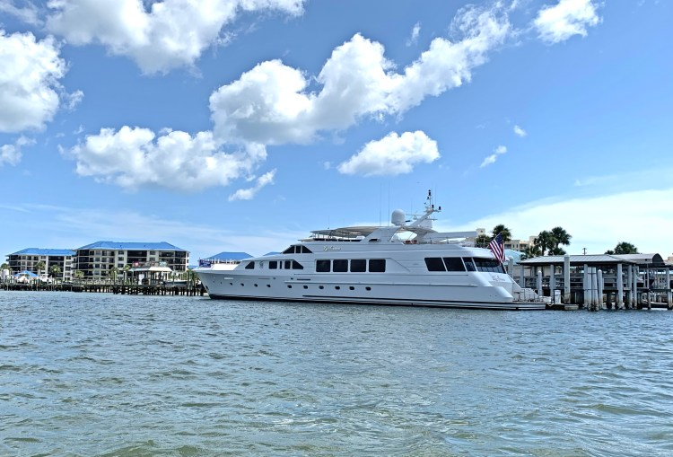 yacht docked along the ICW near Ponce Inlet