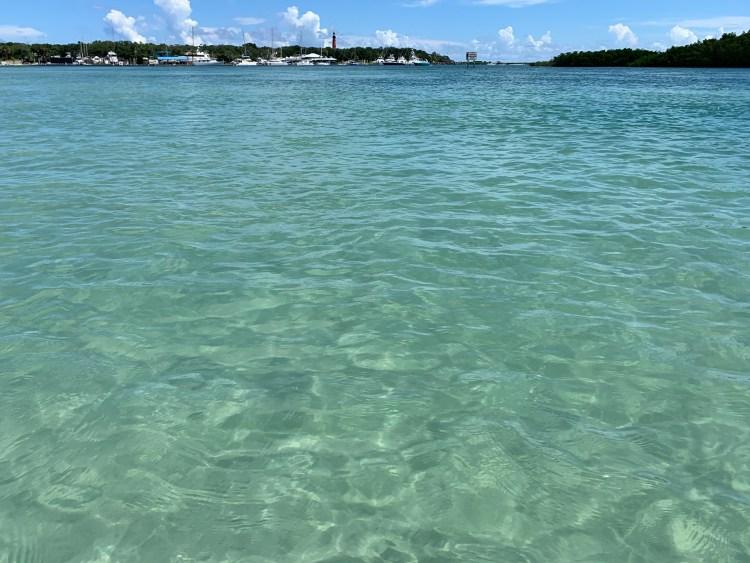 Sea blue-green, crystal clear ocean water