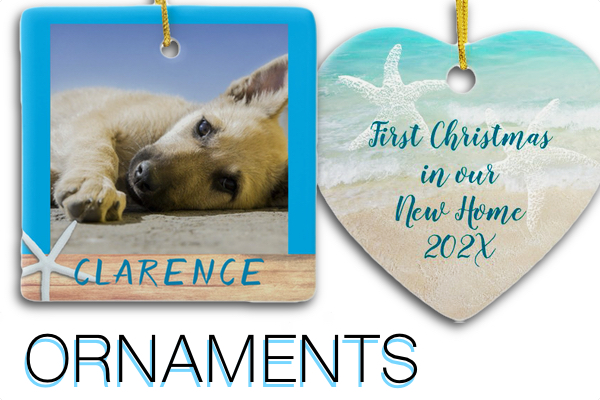 Custom Christmas ornaments with text and photo templates for kids pets new home first married memorial beaches seashells starfish names