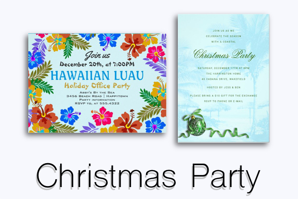 Christmas party invitation templates tropical themes luau office parties warm climate florida