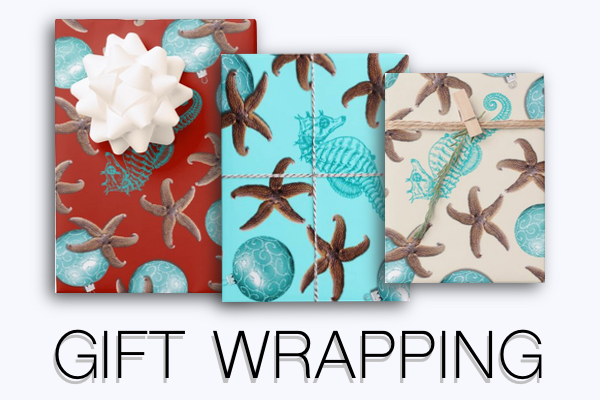 Christmas gift wrapping paper on roll or flat sheets starfish tropical sea stars sand dollars warm climate quality heavy-duty tropical colors sea life designs