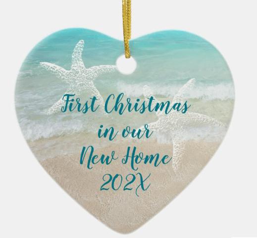 New home Christmas ornament beach scene starfish text both sides heart shape