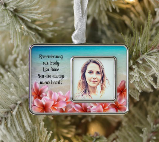 In loving memory photo ornament Christmas tree pink plumeria saying personalized keepsake remembrance loved one