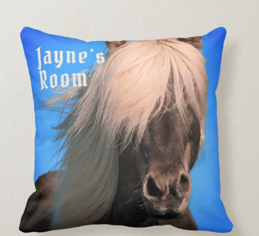 Iceland pony girls room horse pillow personalized name
