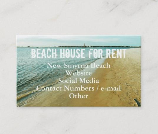 Beach scene property rental business card advertisement