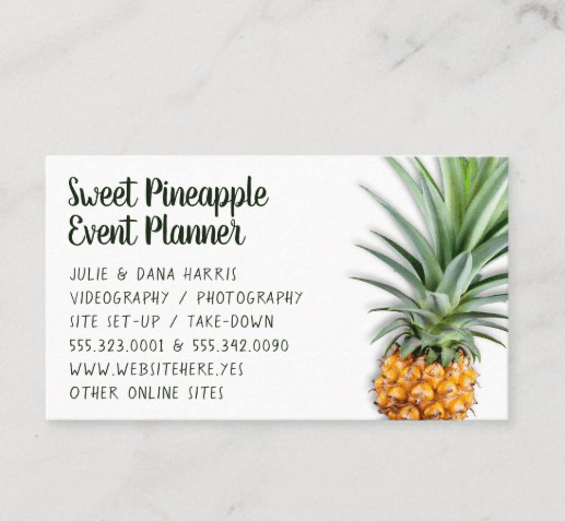 Pineapple business cards all occupations