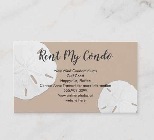 Rent my condo sand dollars business card