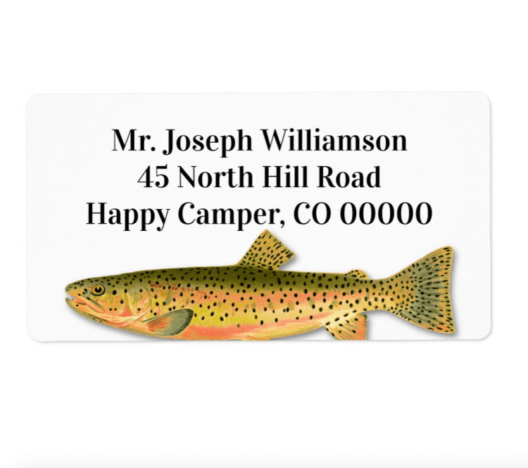 Spotted trout fishing theme return address labels