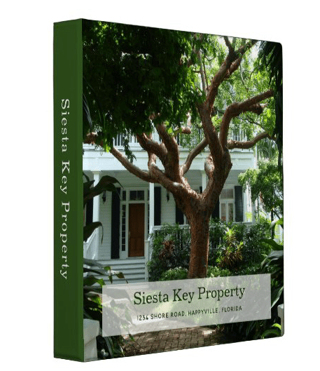 Property management binder with big photo template on the front