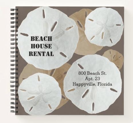 Sand dollars spiral bound notebook small size beach property management