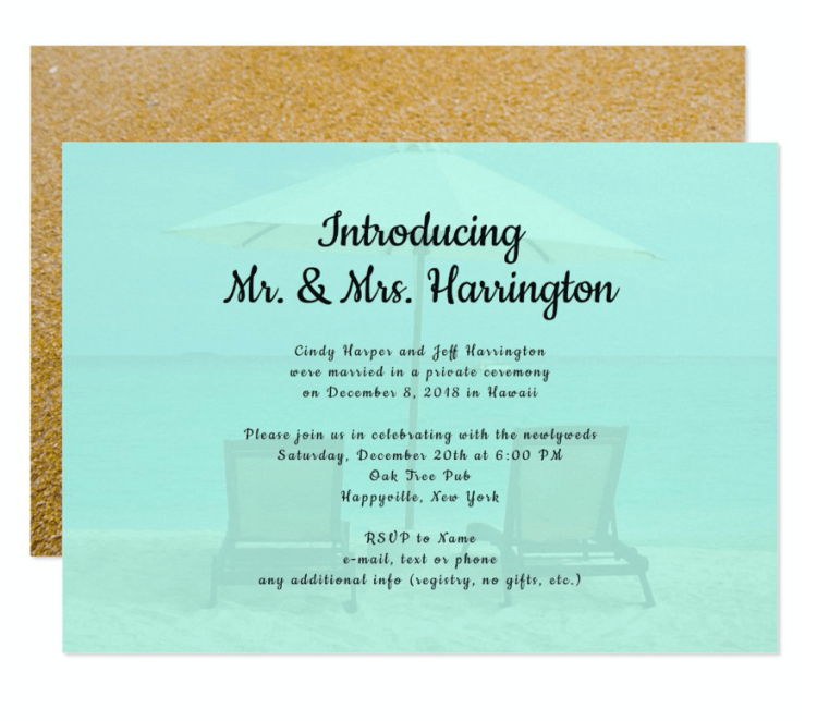 Beach chairs marriage announcement private ceremony reception only invitation blue and sand colors