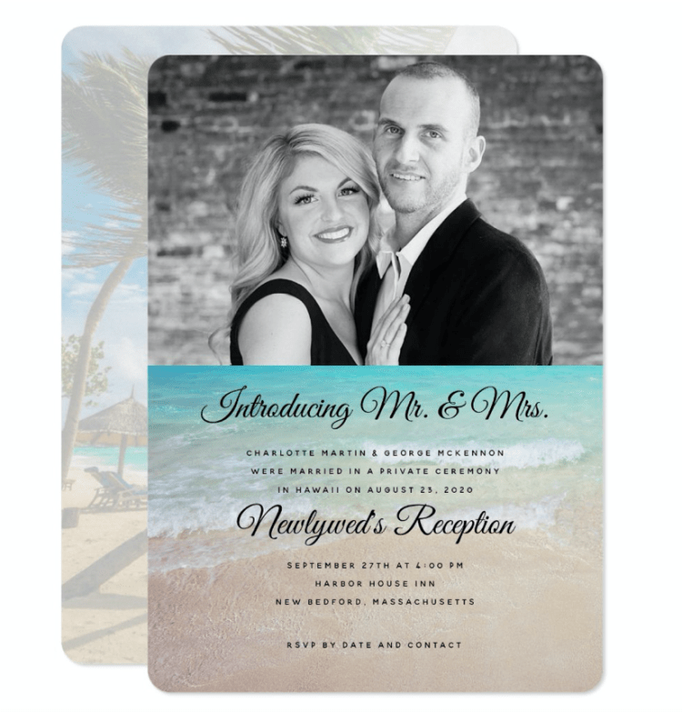 Introducing Mr. and Mrs. photo marriage announcement with beach background palm trees reception newlyweds