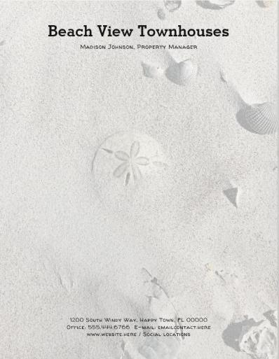Sand dollar beach sand letterhead stationery