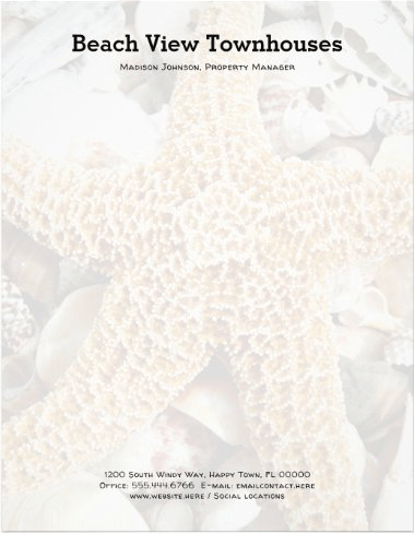Starfish and beach shells background paper with business name and address