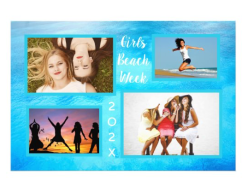 Large photo display for the wall with four templates for pictures customize text dated tropical blue water ocean background
