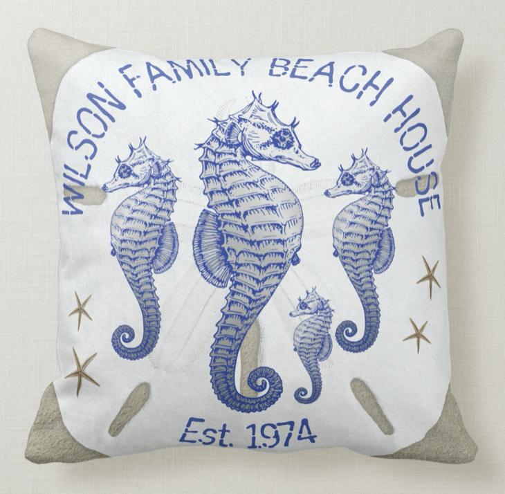 Seahorse family name pillow established date sand dollar beach theme coastal decor
