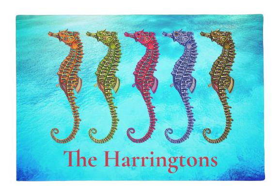 Sea horses doormat family name tropical blue water aqua