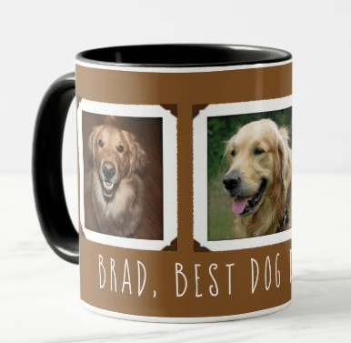 Dog dad coffee mug photo templates animals personalized gift husband father brown framed photos custom text