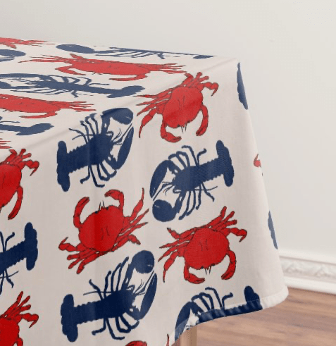 lobsters crabs pattern tablecloth red blue bold design crustaceans seafood