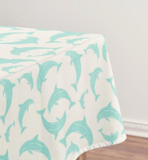Jumping dolphins tablecloth light blue pattern sea life tropical coastal decor