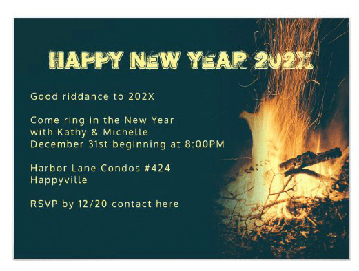 Bonfire New Year's Eve party invitation fire burning outdoor gathering template
