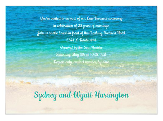 Sea water tropical blue paragraph invitation vow renewal recommitment ceremony names at bottom