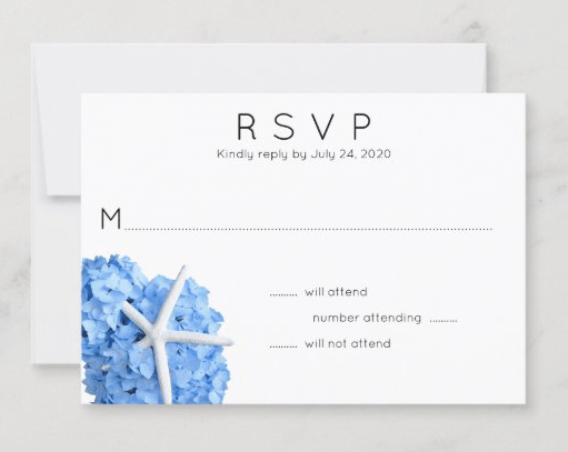Seaside Garden blue hydrangea sea star starfish white rsvp cards number of guests reply