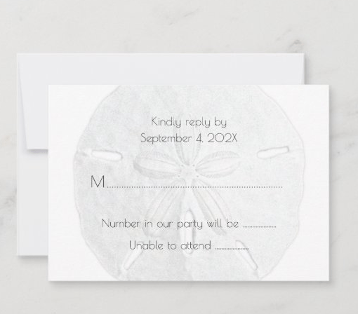 White sand dollar reply cards number of guests attendance enclosure