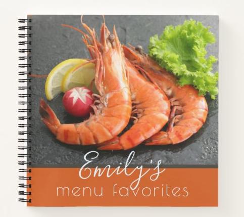 Shrimp seafood blank recipe notebook