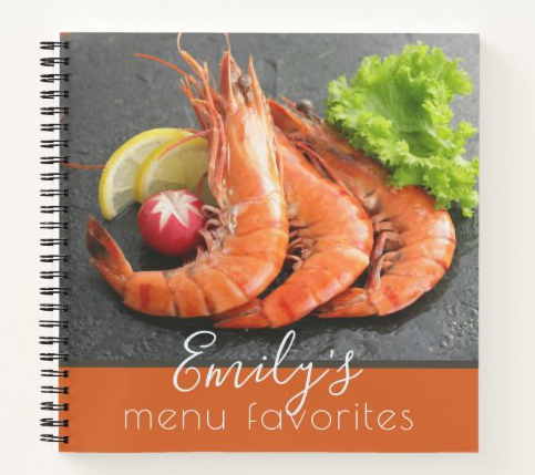 Small cookbook shrimp seafood personal recipes blank spiral bound name template custom title chef gift cook kitchen