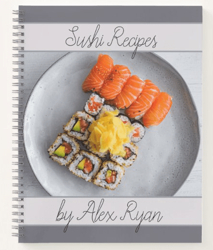Sushi recipes favorite personal chef blank pages spiral bound name template title gift cook kitchen plated seafood