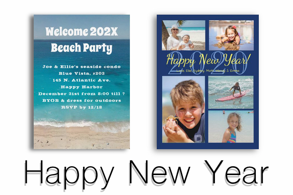 Happy New Year photo greeting cards and party invitations with tropical themes