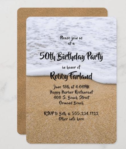 Sea sand birthday party invitation man men masculine template brown