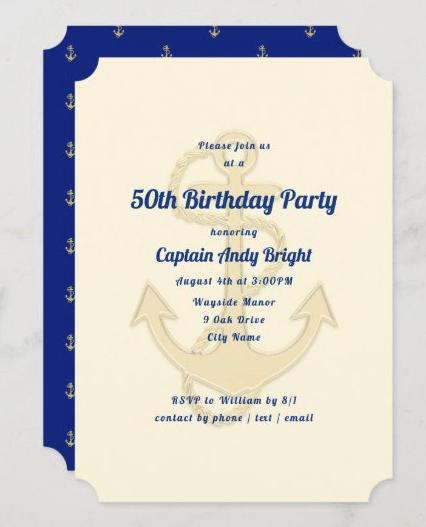 Big anchor nautical birthday party invitation masculine ecru navy blue captain seaman