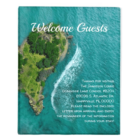 Welcome guests seaside rental property notebook