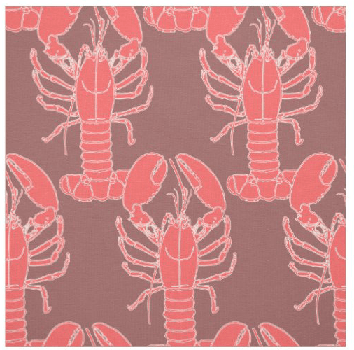 Lobsters fabric pink orange mauve pattern sea life pattern crafts sewing material decorating