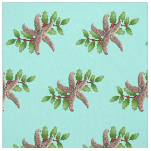 Christmas starfish fabric tropical holiday sewing crafts light blue beach theme coastal decorating
