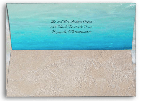 Decorated envelope beach scene sea water tropical coastal waves sand return address blue water background A7