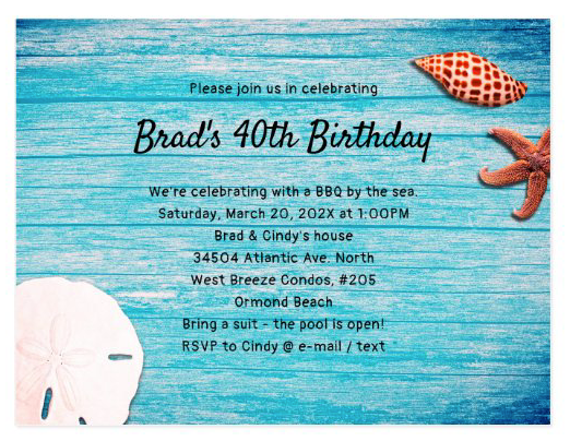 Blue wood seashells birthday party invitation template horizontal unisex starfish sand dollar beach theme