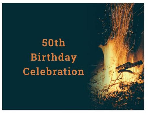 bonfire birthday party invitation outdoor party backyard fire celebration custom text double-sided