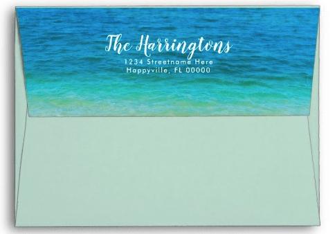 Ocean water beach wedding envelopes