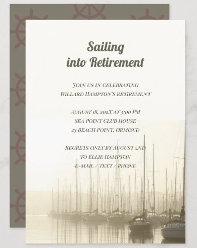 Sailing retirement party invitation template with sailboats and ships wheel pattern