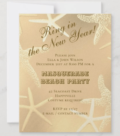 Sea stars New Year's eve party invitations starfish gold modern angled text beach theme
