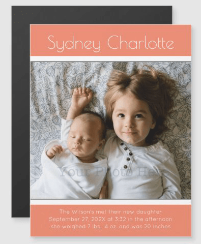 New baby girl birth announcement magnetic card
