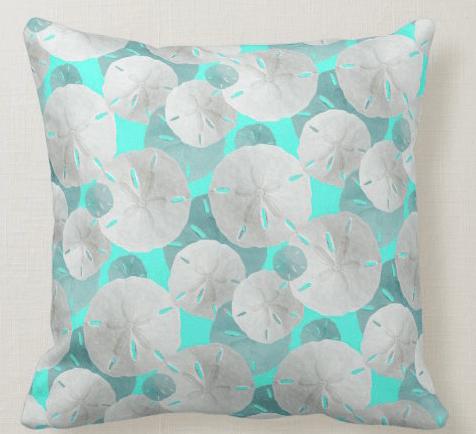 sand dollars decorative pillow aqua blue tropical colors