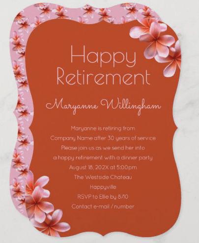 Orange plumeria retirement party invitations pink floral tropical female retiring pretty Hawaiian