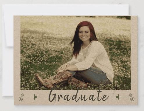 Kraft paper photo graduation announcement and party invitation boho arrows bohemian