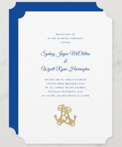 Gold anchors nautical wedding invitation template