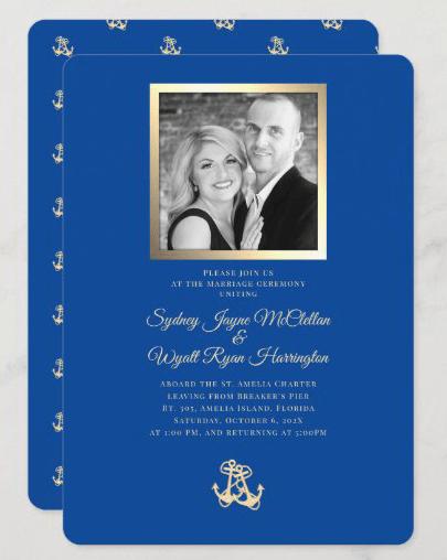 Nautical cruise wedding photo invitations navy blue